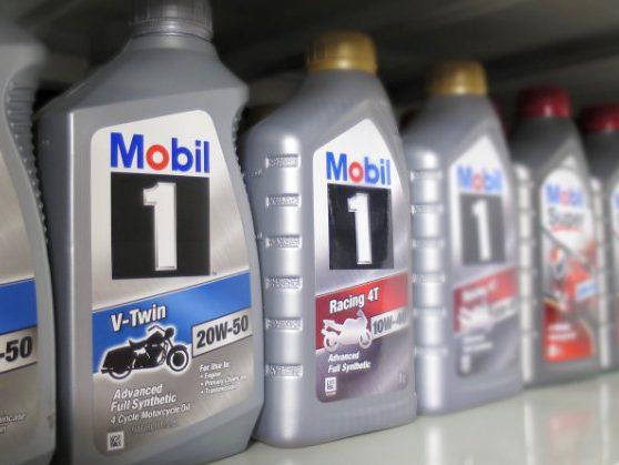 1 litre bottles of Mobil 1 motorcycle engine oil